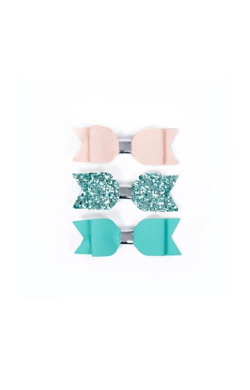 Trio de pinces à cheveux avec boucle décorative - ROSE & TURQUOISE
