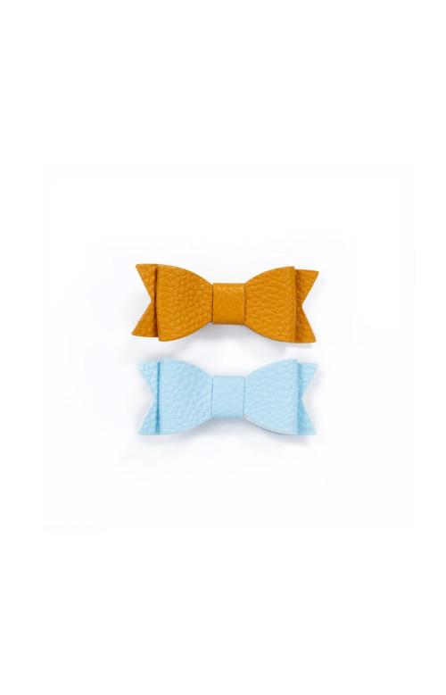 Duo de pinces à cheveux avec petite boucle décorative - BLEU & MOUTARDE