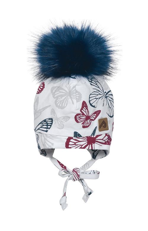 Tuque à oreilles et pompon - PAPILLONS FRAMBOISE