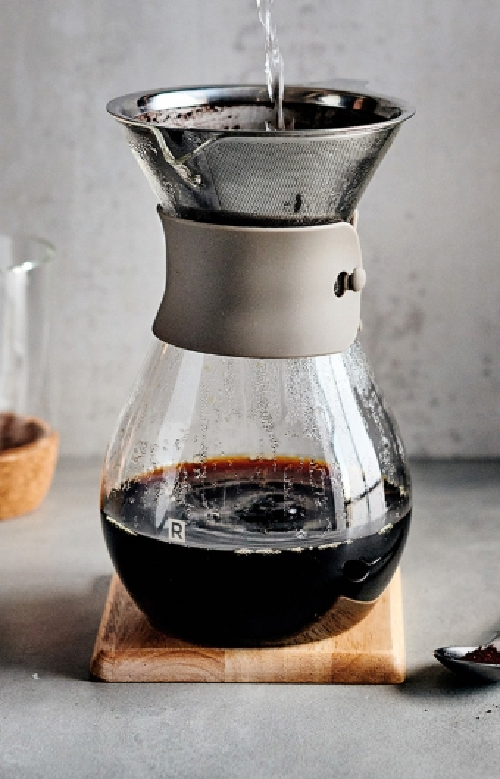 Carafe à café en verre et filtre réutilisable