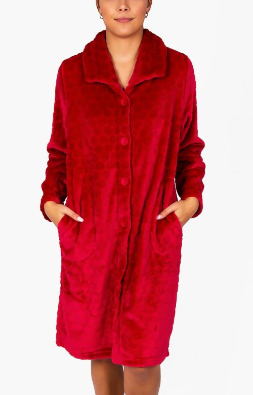 Robe de nuit rouge avec boutons - DOUCEUR