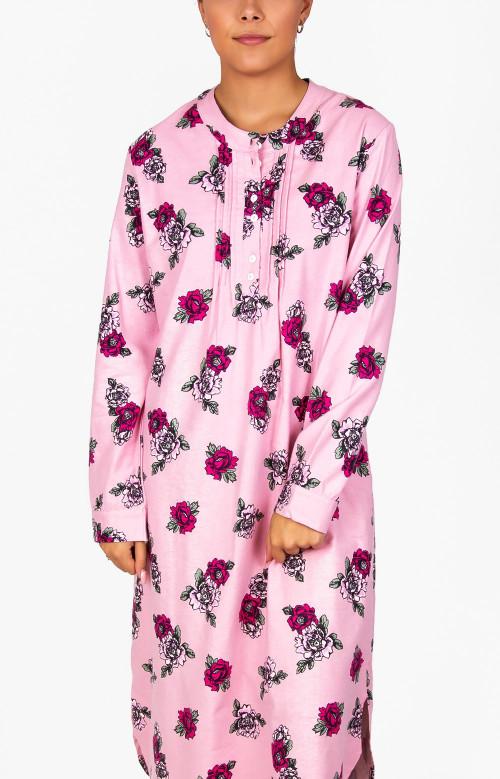 Robe de nuit longue en flanelle - ROSES FRAICHES