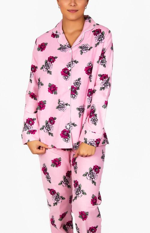 Pyjama à pantalon long en flanelle - ROSES FRAICHES